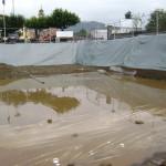 Falda acquifera sul fondo scavo di un cantiere